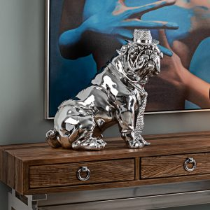 FIGURAS DECORATIVAS BULL DOG CROMO