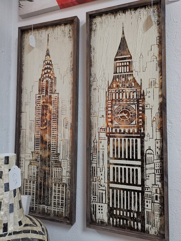 cuadros en madera de edificios